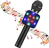 BlueFire Wireless Bluetooth Karaoke Microphone 5 in 1 Handheld Karaoke Microphone with LED Lights, Portable Microphone for Kids, Perfect Gifts Toys for Kids, Girls, Boys and Adults (Black)