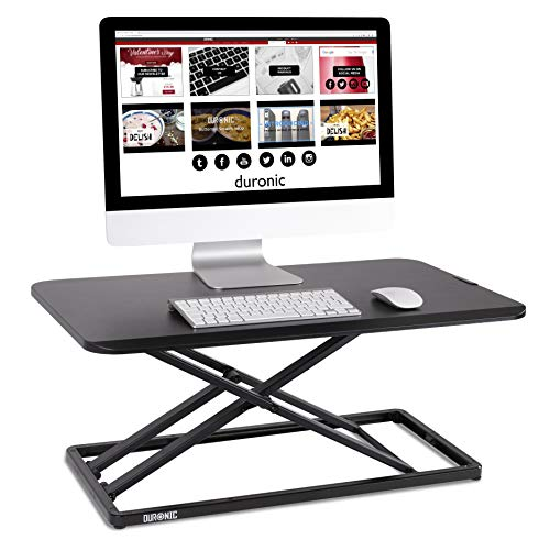 Duronic Sit-Stand Desk DM05D20 | Height Adjustable Office Workstation | 74x45cm Platform | Riser for PC Computer Screen, Keyboard, Laptop | 10kg Capacity | Ergonomic Desktop Table Converter