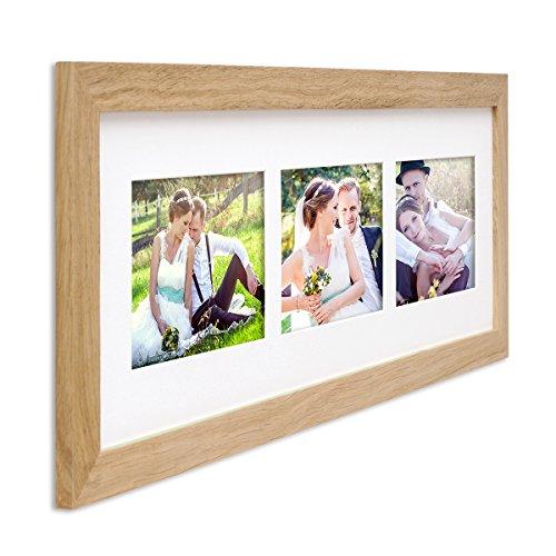 PHOTOLINI Fotocollage-Bilderrahmen Modern Eiche aus Massivholz Collagerahmen Bildergalerie-Rahmen für 3 Bilder 10x15 cm Wechselrahmen mit Passepartout