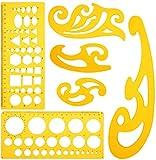 KINDPMA 4 Reglas Curva Francesa y 2 Reglas Plantilla de Círculos para el Estudio Pintura Artística Dibujo DIY Adecuado para los Sastres Estudiantes Pintores Artesanos Ingenieros Diseñadores