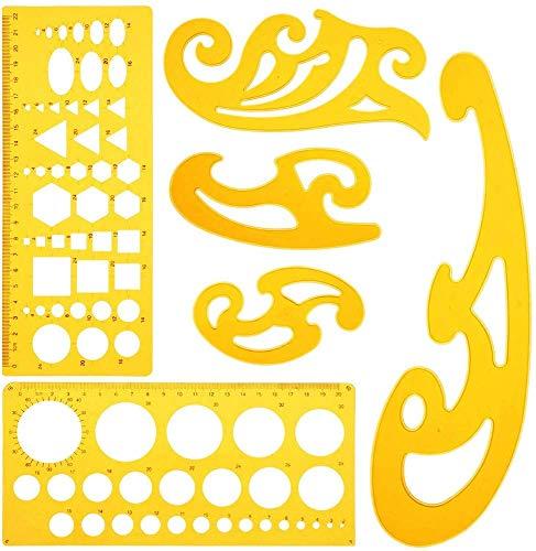 KINDPMA 6 Pz Maschera per Cerchi Cerchiometro Plastica Curva Francese Geometrico Righello con Cerchi per Disegni Studio Artistico Fai Da Te