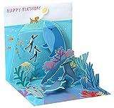 PopShots Studios Pop Up 3D Karte Geburtstag Grußkarte Delphin schwimmt im Meer 13x13cm