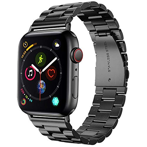 Supoix 42mm/44mm XL Large Bands Compatible with Apple Watch Series 5 4 44mm/Series 3 2 1 42mm,Stainless Steel Metal Link Replacement Wristbands Strap for Men-Space Black