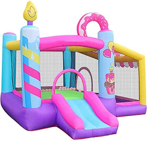 Centro de jogos infláveis, castelo inflável de verão com tobogã e parede de escalada, jardim inflável com jardim
