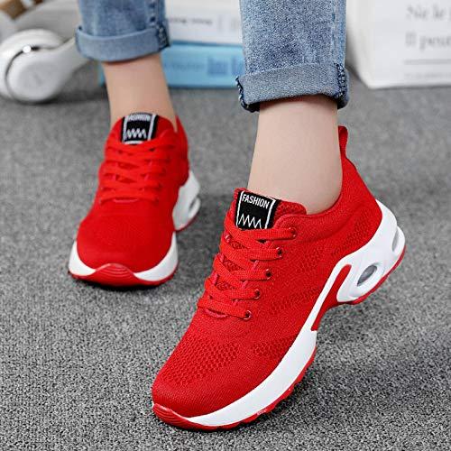 N-B Zapatillas de deporte de malla casual para mujer, color rosa, zapatos planos ligeros, suaves, transpirables, zapatos de cesta, tallas grandes