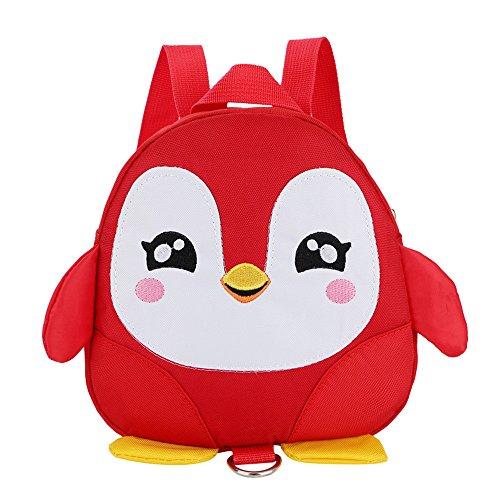 Tophappy Zaino Scuola Per Bambini, Animale Scuola Borsa Asilo e Elementare, Zainetto per Bambino, Ragazzi, Ragazze - Zaini Semplice Casual 3D Pinguino - Multicolore (Rosso)