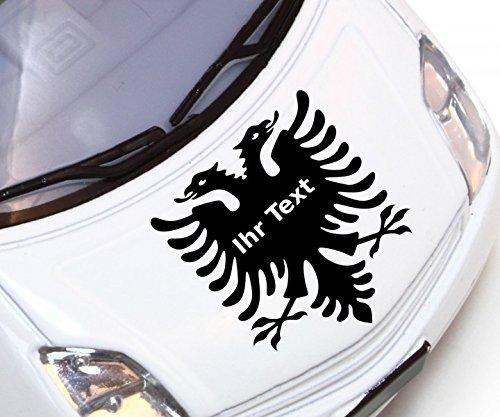 Autoaufkleber XXL 120cm Albanischer Adler mit Wunschtext Tür Seite Aufkleber Text Albanien Shqiponjë Auto 3E025, Hohe:25cm;Farbe XXL:Weiß Matt