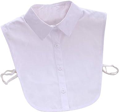 EQLEF Falso Cuello algodón Desmontable Media Camisa Blusa de Las Mujeres Falso Cuello Camisa