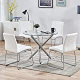 SICOTAS 5 Pieces Round Dining Table Set, Modern Kitchen Table and Chairs for 4 Person,Dining Room Table Set with Clear Tempered Glass Top, Dining Set for Dining Room Kitchen (Table + 4 White Chairs)