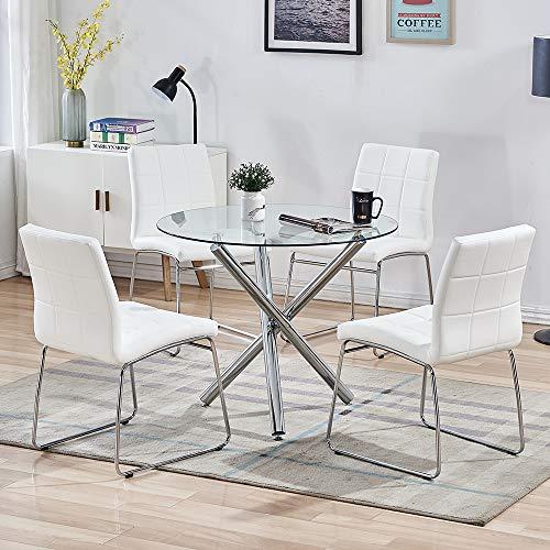 Conjunto de Mesa Comedor Redonda y Sillas Comedor, Mesa Auxiliar Comedor Mesa Comedor Cristal de Vidrio Templado, con 4 Sillas Cocina Blancas