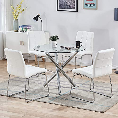 SICOTAS 5 Piece Round Dining Table Set, Modern Kitchen Table and Chairs for 4 Person,Dining Room Table Set with Clear Tempered Glass Top, Dining Set for Dining Room Kitchen (Table + 4 White Chairs)