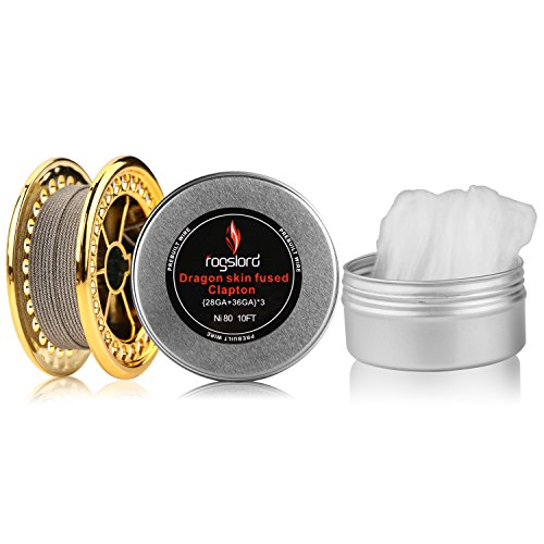 Dragon Skin Fused Prebuilt Resistance Wire with Cotton 10 ft - {28GA+36GA}x3, Nichrome 80 for Household Wiring Use