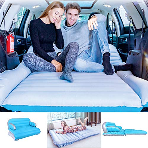 WEY&FLY 3 in 1 SUV Air Mattress Inflatable Sofa Car Air Mattress Travel Inflatable Mattress Camping Air Bed Dedicated Mobile Cushion Extended for Home Outdoor for SUV (Blue and Gray)