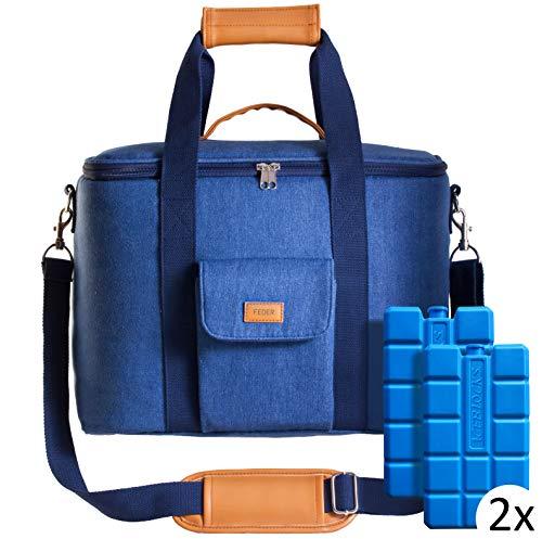 Feder Kühltasche mit Kühlakkus - große 25l Einkaufstasche/Isoliertasche/Thermotasche/Eistasche