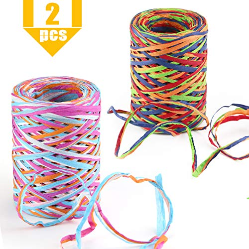 Kuqqi Colored Raffia Paper Craft Ribbon for Gift Wrapping,Party Decoration,DIY Craft,Gift Box Packing,2 Rolls 175 Yards