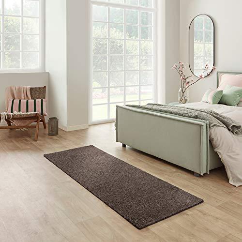 Carpet Studio Santa Fe Läufer Flur 67x180cm, Teppich Läufer für Schlafzimmer, Küche & Flur, Einfach zu Säubern, Weiche Oberfläche, Kurzflor - Braun