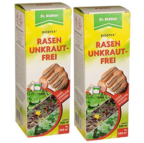Dr. Stähler 056381 Rasen Unkrautfrei, gegen Unkräuter, 2 x 500 ml Inklusive Dosierbecher
