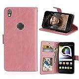 Alcatel Shine Lite Hülle, SATURCASE Glatt PU Lederhülle Magnetverschluss Flip Brieftasche Handy Tasche Schutzhülle Handyhülle Hülle mit Standfunktion für Alcatel Shine Lite 5080X (Pink)