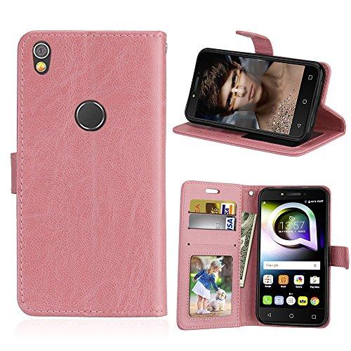 SATURCASE Alcatel Shine Lite Hülle, Glatt PU Lederhülle Magnetverschluss Flip Brieftasche Handy Tasche Schutzhülle Handyhülle Hülle mit Standfunktion für Alcatel Shine Lite 5080X (Pink)