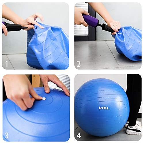 [Amazonブランド]Umi.(ウミ)バランスボール65cmばらんすぼーるアンチバースト厚い滑り止め耐荷重300kgハンドポンプ付(ブルー)