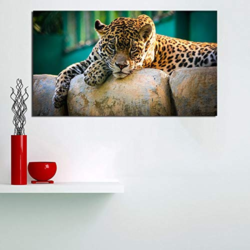 YuanMinglu Animal Salvaje Leopardo Papel Pintado Arte Lienzo