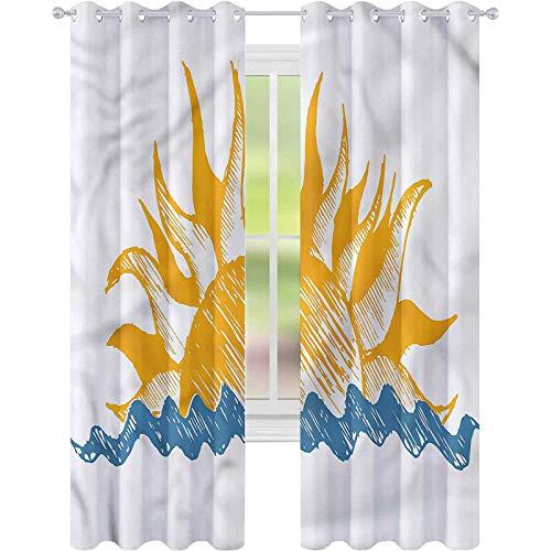 Cortina de ventana moderna con vigas de sol y fuego, 52 x 72, para sala de estar
