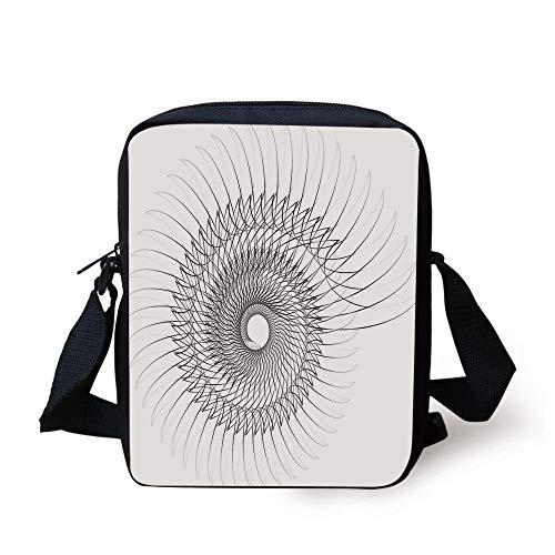 Spires Decor,Authentic Geometric Rotary Spiral with Helix Element and Regular Lines Cyclic Symbol,Grey Print Kids Crossbody Messenger Bag Purse