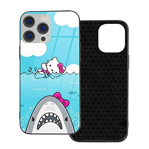 Funda para iPhone 12 Hello Kitty and Shark Anti-Drop compatible con iPhone 12, compatible con iPhone 12 Pro 6.1/Max 6.7, funda de vidrio ultrafino linda y duradera