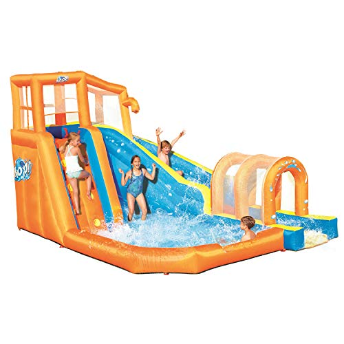 Bestway Hurricane Tunnel Blast Inflatable Water Park Play Center | Includes Big Water Slide, Water Blob, Climbing Wall, and Pool Area