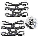 Daimay Leder Strumpfband 2 PCS Oberschenkel Ring Harness Suspender Gothic Gummi Nieten Strapsbänder Verstellbare - Schwarz