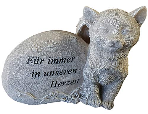 Fachhandel Plus Grabdeko für Hund oder Katze mit Flügel Spruch und Rosen Grabschmuck Gedenkstein, Motiv:Katze