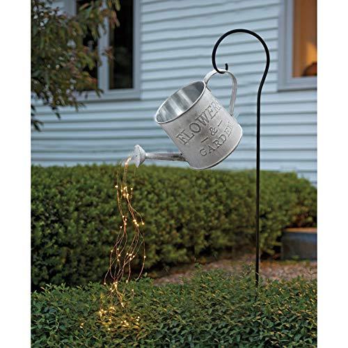 Surfiiiy Gartenlampen Gießkanne Gartengießkanne Licht Lampions, Watering Can Fairy Lights Solar LED Light Garten Deko lampions für Outdoor Garten Hof (F Mit Halterung)
