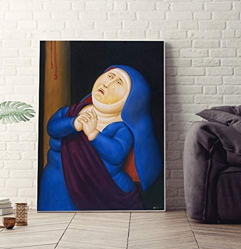 ganlanshu Rahmenlose Malerei Cartoon-Version der berühmten Malerei Leinwand Poster Moderne niedliche Kinderzimmer WandkunstZGQ3928 60X80cm