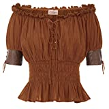 Women Pirate Off Shoulder Corset Top Steampunk Gypsy Shirt Blouse S Brown