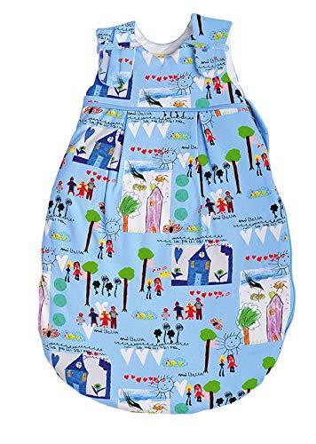 Picosleep Babyschlafsack für Jungen und Mädchen in buntem Maldesign I Obermaterial und Futter aus weicher Jersey-Baumwolle I atmungsaktives Polyestervlies I ganzjährig (50/56)