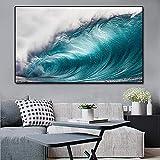Lienzo arte de la pared ola moderna paisaje marino carteles e impresiones lienzo pintura salón arte de la pared imágenes sala de estar decoración del hogar 60x100 cm sin marco