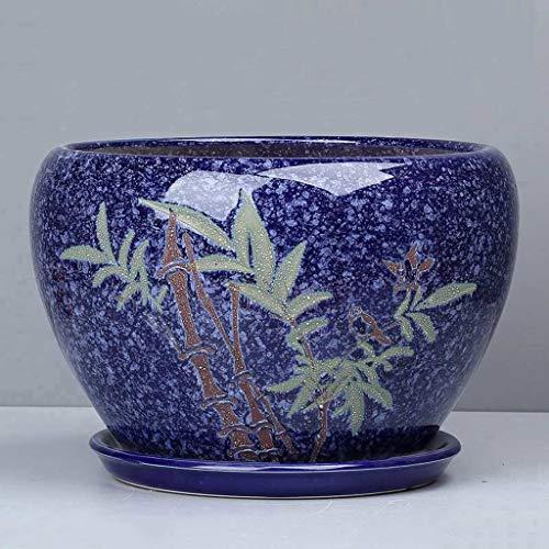 PLL eenvoudige groene steel orchidee keramische pot creatieve huis absorberende ademende balkon donkerblauw bamboe bloempot