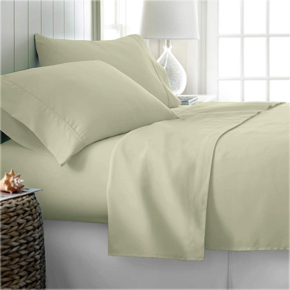"""800 Thread Count True Egyptian Extra Long Staple Cotton Sheet Set, 4 Pc Set, Sateen Weave, Hotel Collection Soft Luxury Bedding, Fits Upto 15"""" Deep Pocket (Ivory Solid, Twin-XL Size) : Home & Kitchen"""