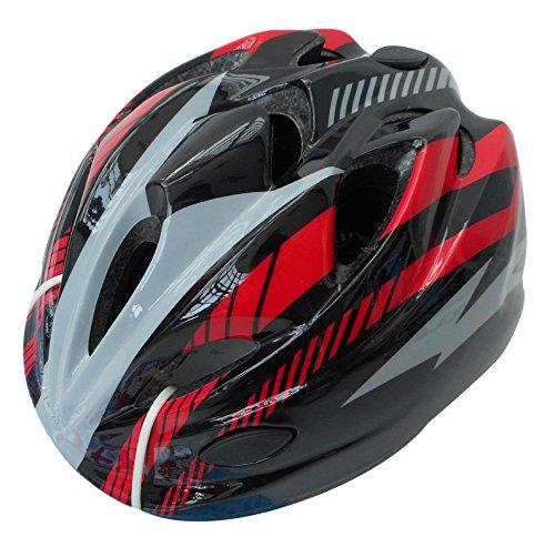自転車 ヘルメット ジュニア スタンダードモデル ブラック レッド 46407 M (頭囲 52cm~56cm未満)