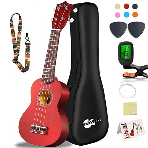 Soprano Ukulele Beginner Pack-21 Inch w/Gig Bag Fast Learn Songbook Digital Tuner All in One Kit