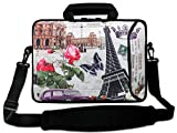 AUPET 16 16.5 17-17.3-Inch Water Resistant Neoprene Sleeve Notebook Neoprene Messenger Case Tote Bag with Outside Handle and Adjustable Shoulder Strap & Extra Pocket(Butterfly and Flower)