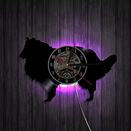 WERWN Rough Sheepdog Dog Vinyl Wall Clock Creative 3D Animal Shade Wall Decoration Gift Pet