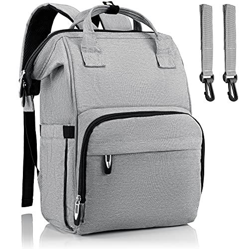 Brombär Mochila para pañales en color gris con ganchos para cochecito y muchos compartimentos.