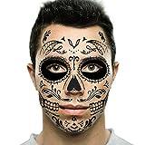 Black Web Sugar Skull Day of the Dead Temporary Face Tattoo Kit: Men or Women - 2 Kits