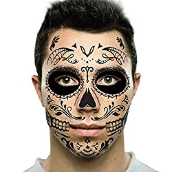 Get painted Day of the Dead makeup skull face tattoos (AFFILIATE)