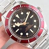 Luxury Men Orologio Meccanico Automatico Black bay Red Blue Lunetta in...