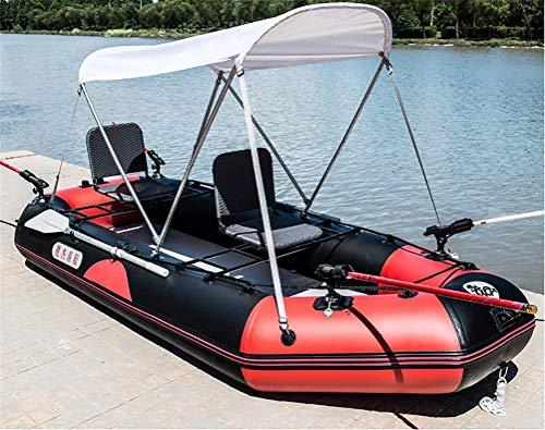 LIBINA Juego De Bote Inflable para 3 Personas con Remos Y Bomba De Aire Barco De Pesca con Red Barco De Fondo Duro Kayak De Engrosamiento Barco Inflable Bote De Asalto Bote A La Deriva