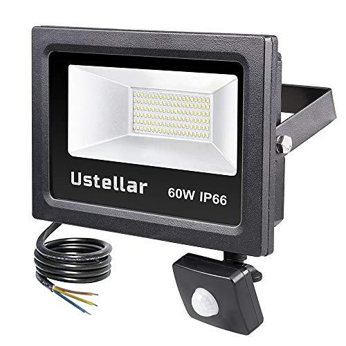 Ustellar LED Strahler mit Bewegungsmelder außen 60W,LED Fluter 4800lm Tageslichtweiß 5000K,LED Scheinwerfer IP66 Wasserdicht, Außenstrahler für Garten Garage Flur für Garten Garage