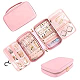 Matein Travel Jewelry Organizer, Portable Hanging Leather Carrying Storage Bag Large Waterproof Jewelry Pouch with Hook, Jewelry Case Holder for Necklaces, Earrings, Rings, Gifts for Women, Pink