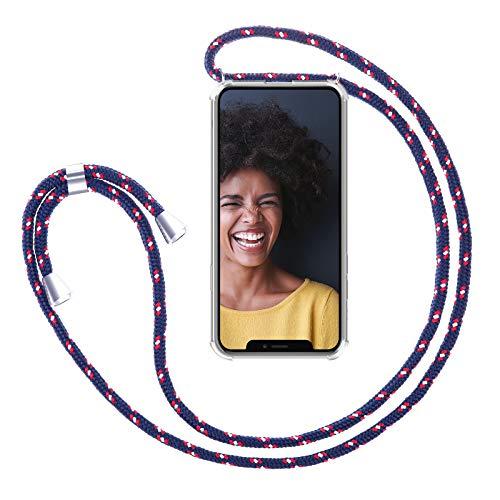 ZhinkArts Cadena para Teléfono Móvil Compatible con Apple iPhone XR - Funda con Collar de Cordón para Smartphone - Carcasa con Correa para Celular para Llevar - Navy - Azul
